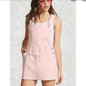 Forever 21 Light Pink Jean Overall Dress | 25